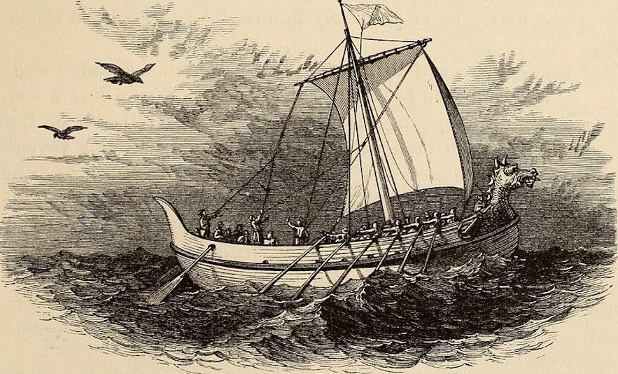 Wikingowie płynący na statku.