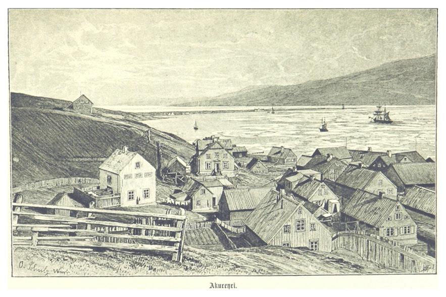 Rycina starego miasta Akureyri.