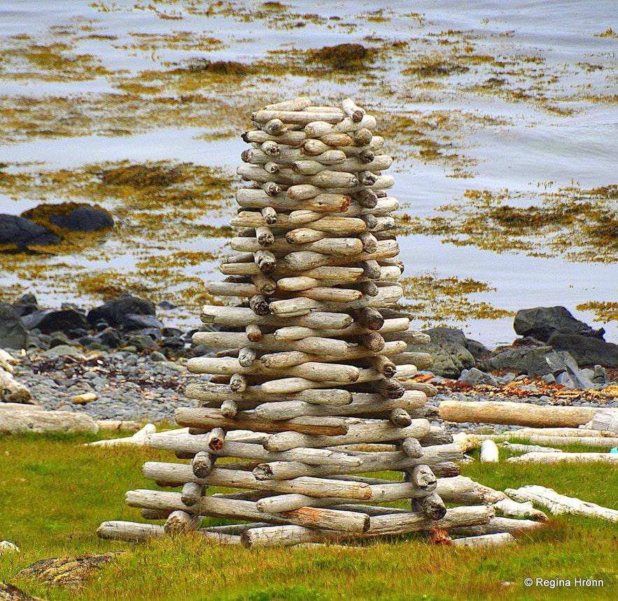 Artwork of driftwood at Strandir