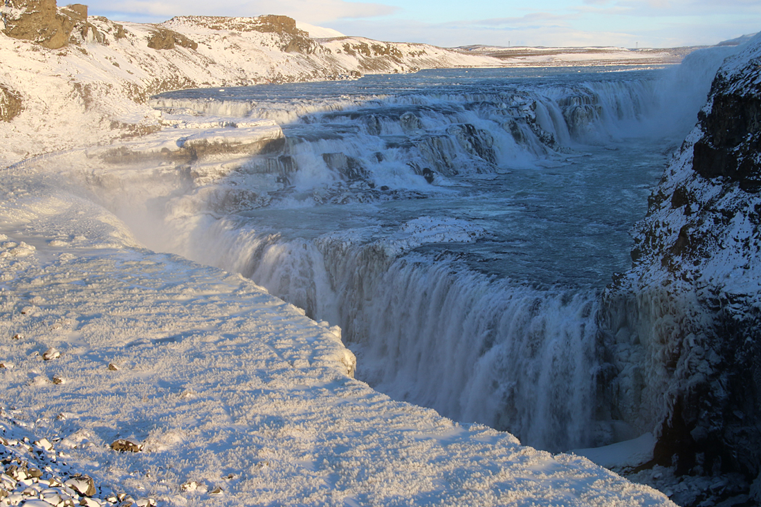 Gullfoss waterfall is one stop of the famed Golden Circle route.