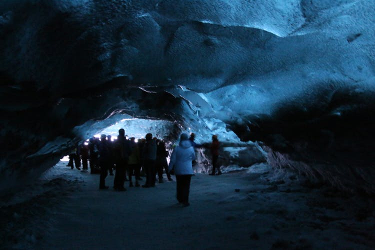 Inside a blue Ice Cave in Vatnajökull national park.