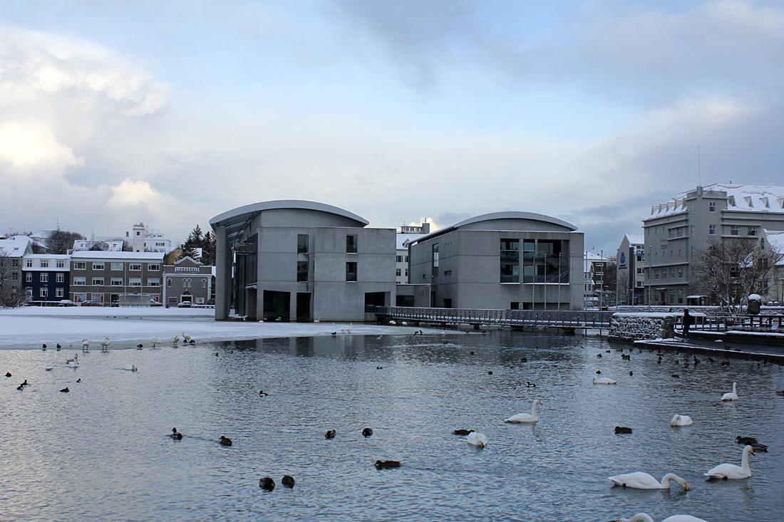 Reykjavík's City Hall in the winter.