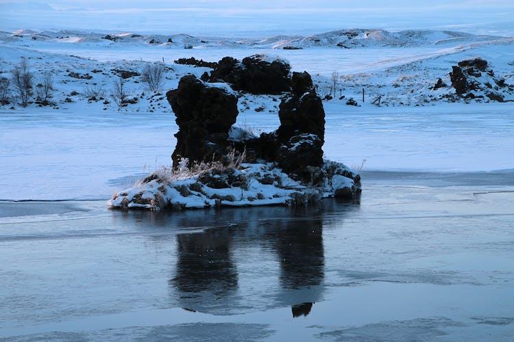 Volcanic rock formations at Lake Mývatn.