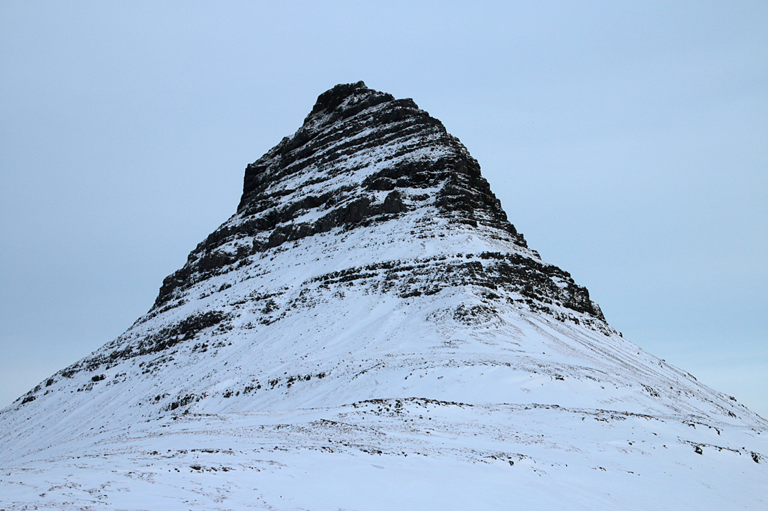 The mountain Kirkjufell on the Snæfellsnes Peninsula.