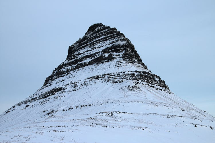 The mountain Kirkjufell on the Snæfellsnes Peninsula.