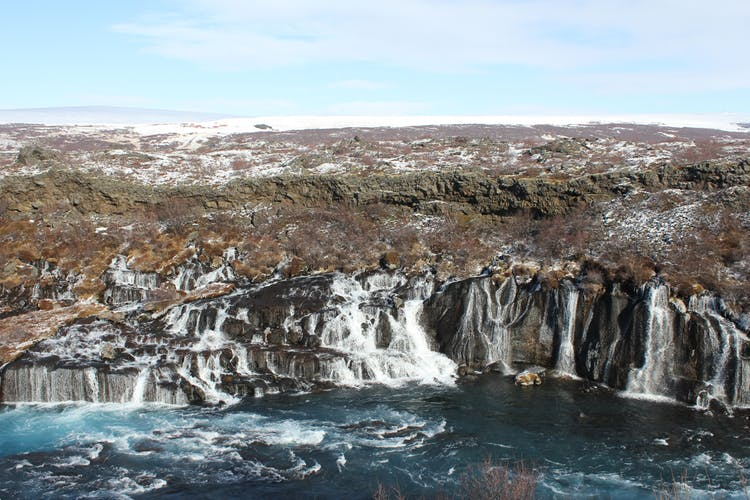 Hraunfossar waterfalls are on Iceland's west coast.