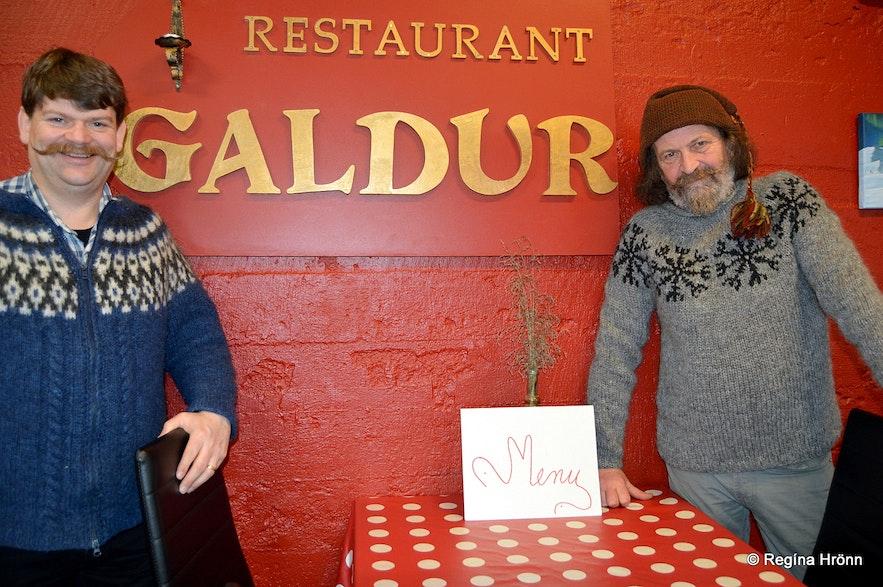 My husband and Sigurður at Restaurant Galdur