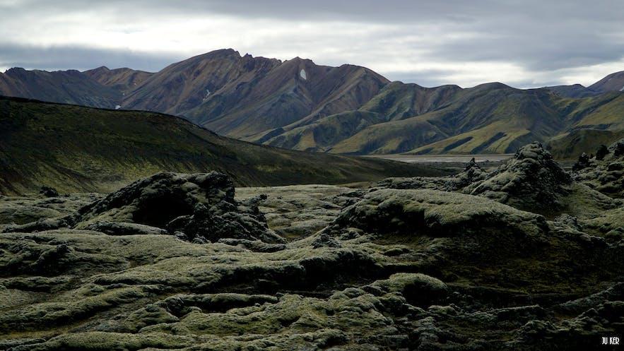 Champs de lave séchée dans les Hautes Terres en Islande