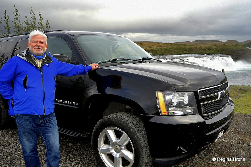 The guide Ólafur with his super jeep by Faxi waterfall
