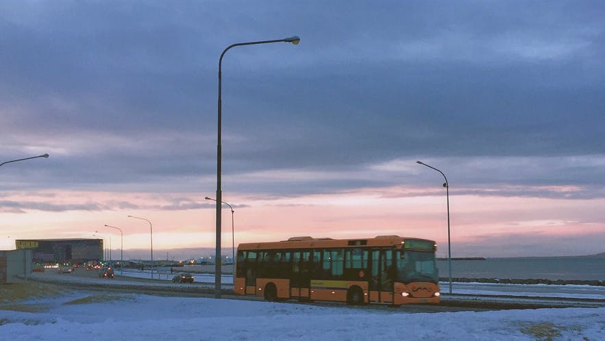 Iceland's public transportation is immediately recognisable thanks to its bright yellow buses.