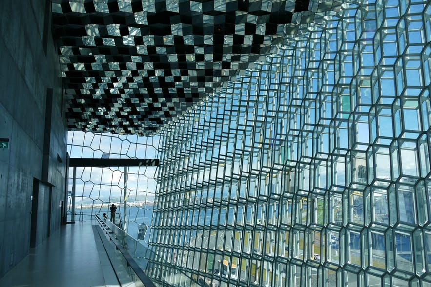 Harpa Concert Hall as seen from the inside.