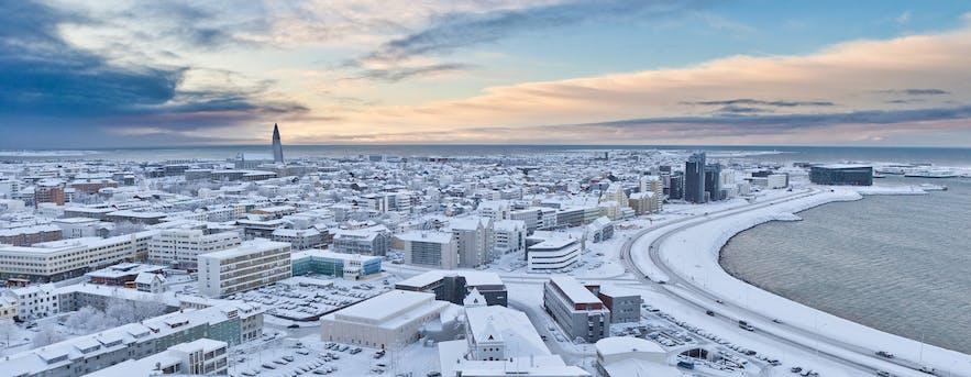 Snow across Reykjavik