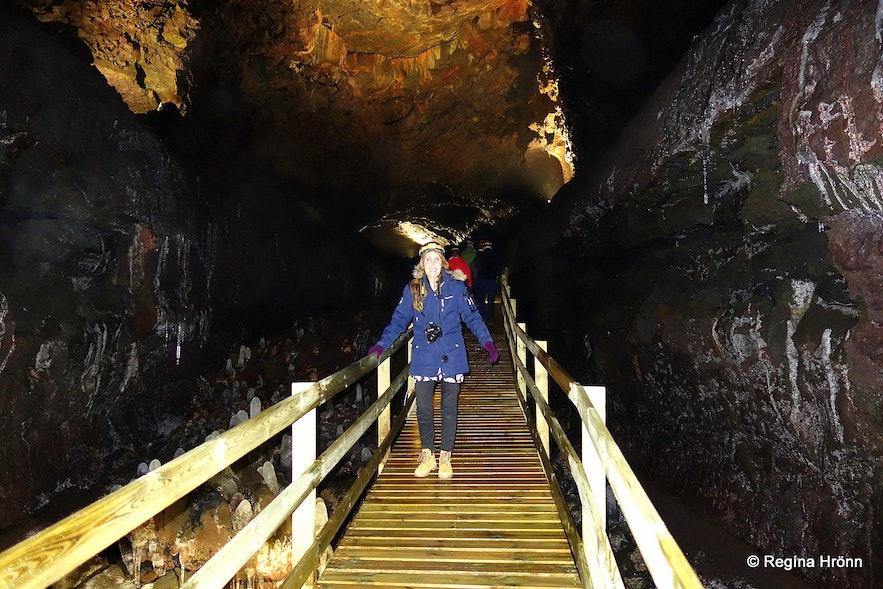 Regína inside Víðgelmir lava cave
