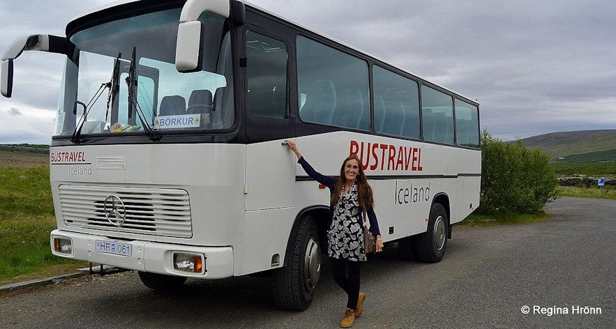 Regína travelling with Bustravel to Víðgelmir lava cave