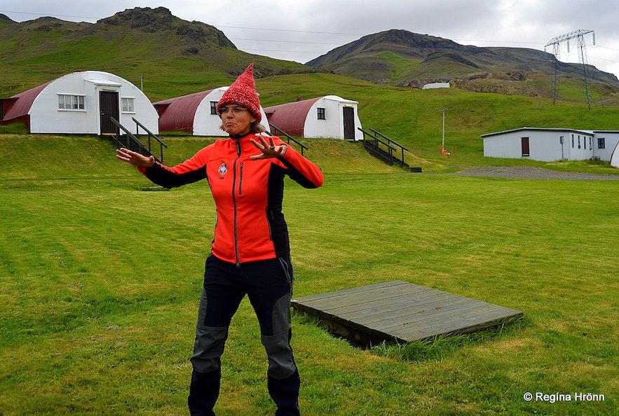 The guide by the barracks in Hvalfjörður