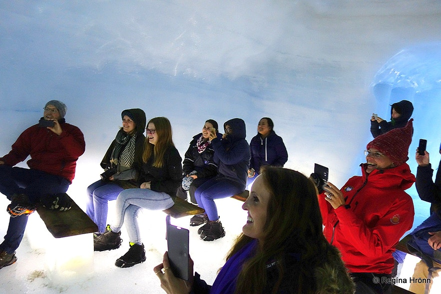 Regína nside the Ice Cave Tunnel in Langjökull Glacier in Iceland - Into the Glacier
