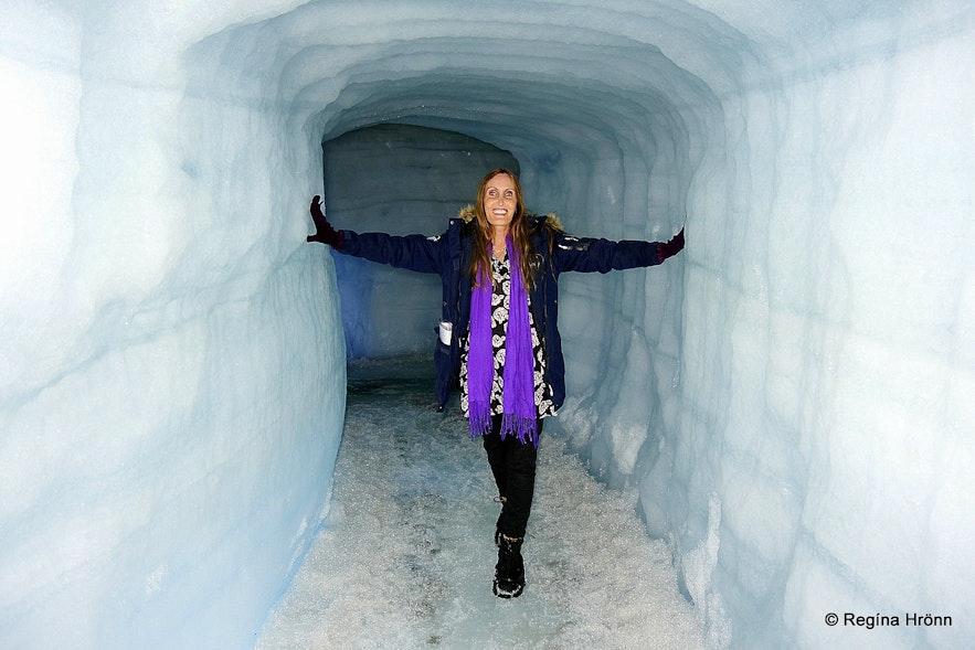 Regína inside the Ice Cave Tunnel in Langjökull Glacier in Iceland - Into the Glacier