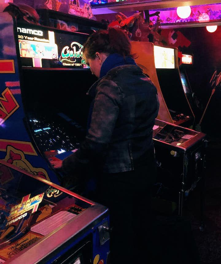 People playing at Freddi Arcade in downtown Reykjavík.