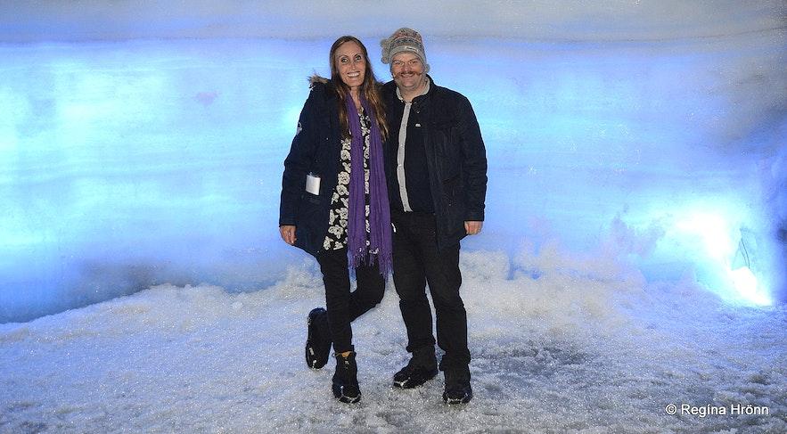 Inside the Ice Cave Tunnel in Langjökull Glacier in Iceland - Into the Glacier Regína and her husband Jón
