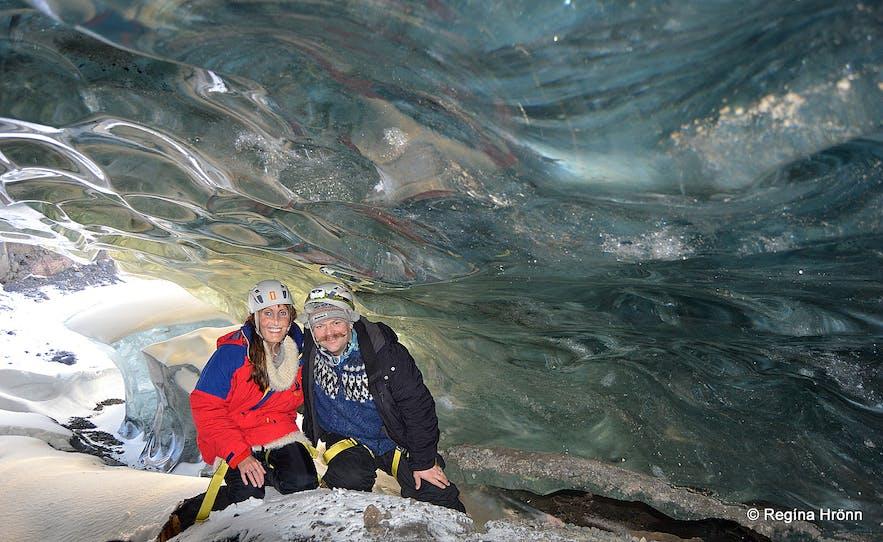 Regína with her husband Jón inside Fláajökull ice cave