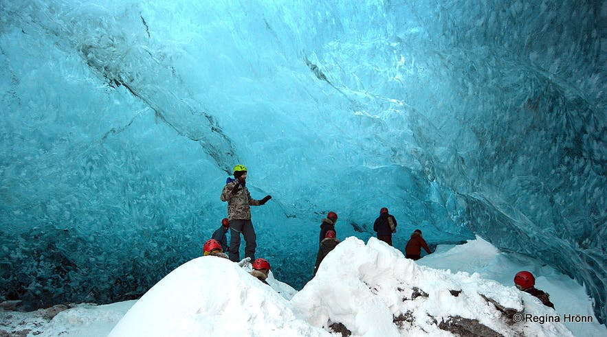 A Sapphire blue Crystal Ice Cave in Vatnajökull Glacier in South-Iceland