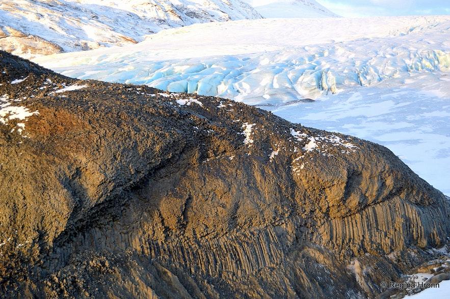 The basalt column canyon and Fláajökull glacier
