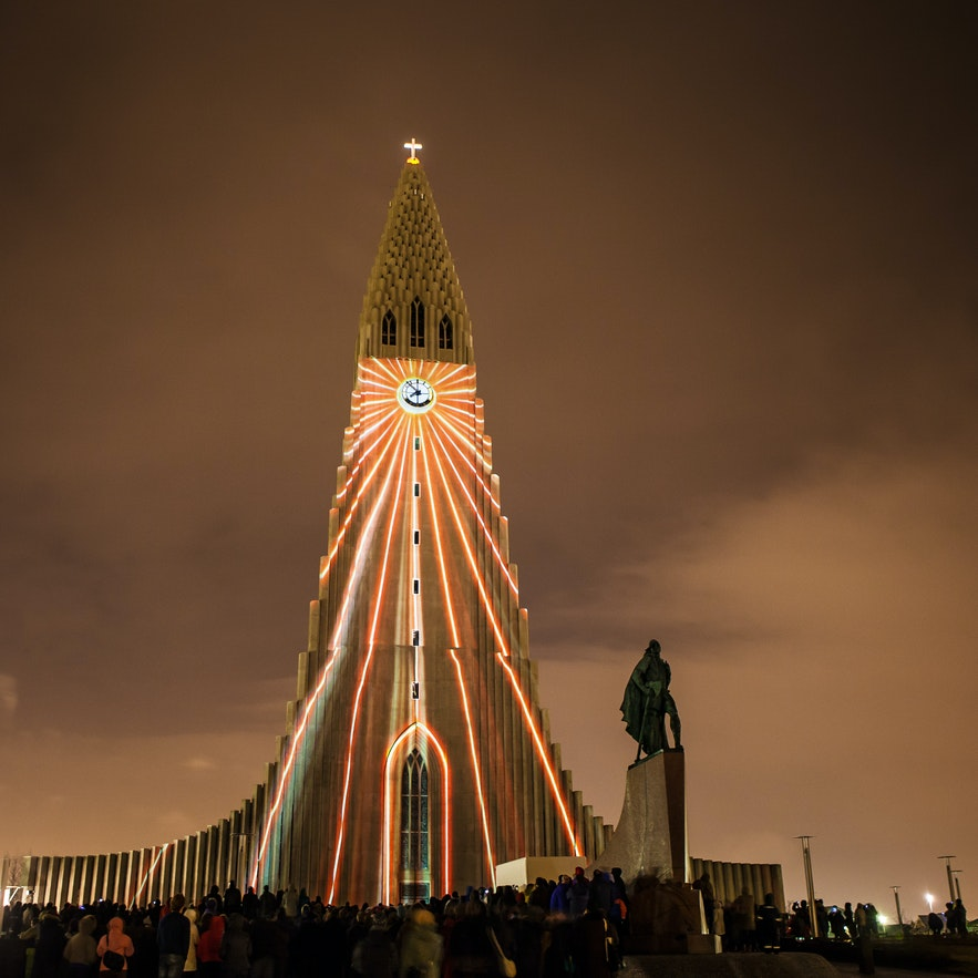Hallgrímskirkja with lights