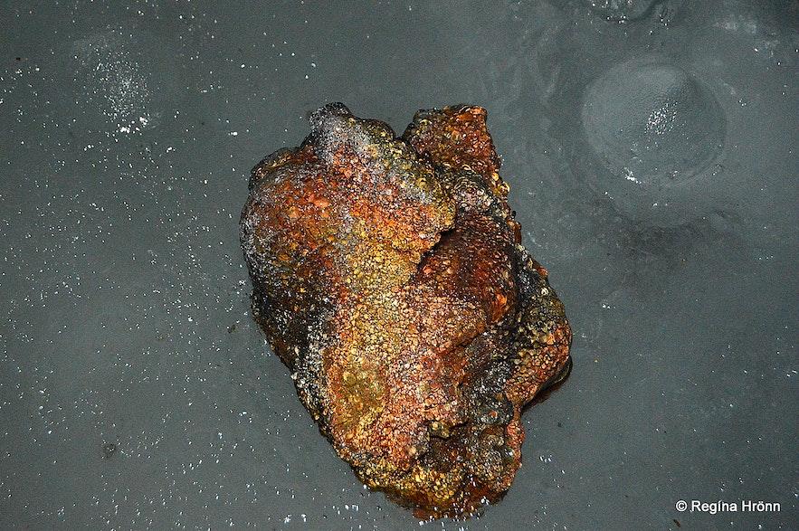 Shiny lava inside Lofthellir cave