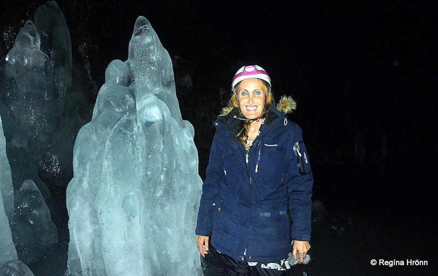 Regína inside Lofthellir cave