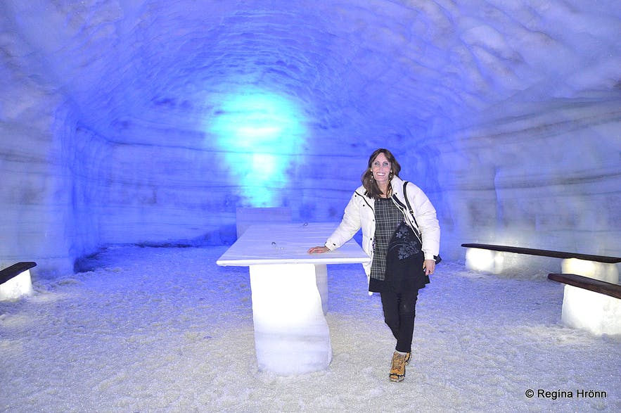 Regína at The ice cave tunnel - Into the Glacier