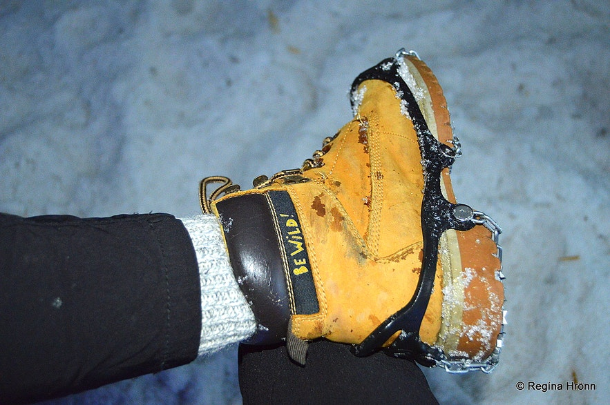 Crampons are needed inside the Ice Cave Tunnel in Langjökull Glacier