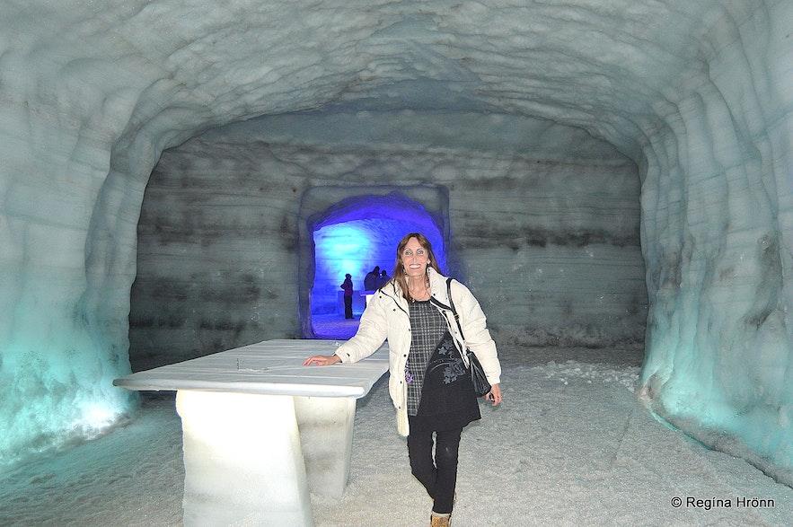 Regína in the Ice Cave Tunnel in Langjökull Glacier in Iceland - Into the Glacier