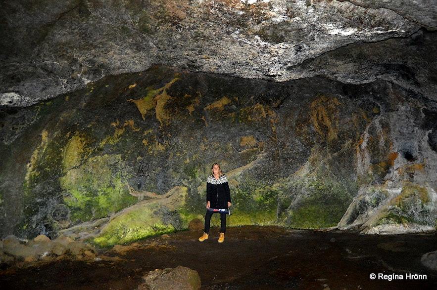 Regína inside Stórihellir cave South-Iceland