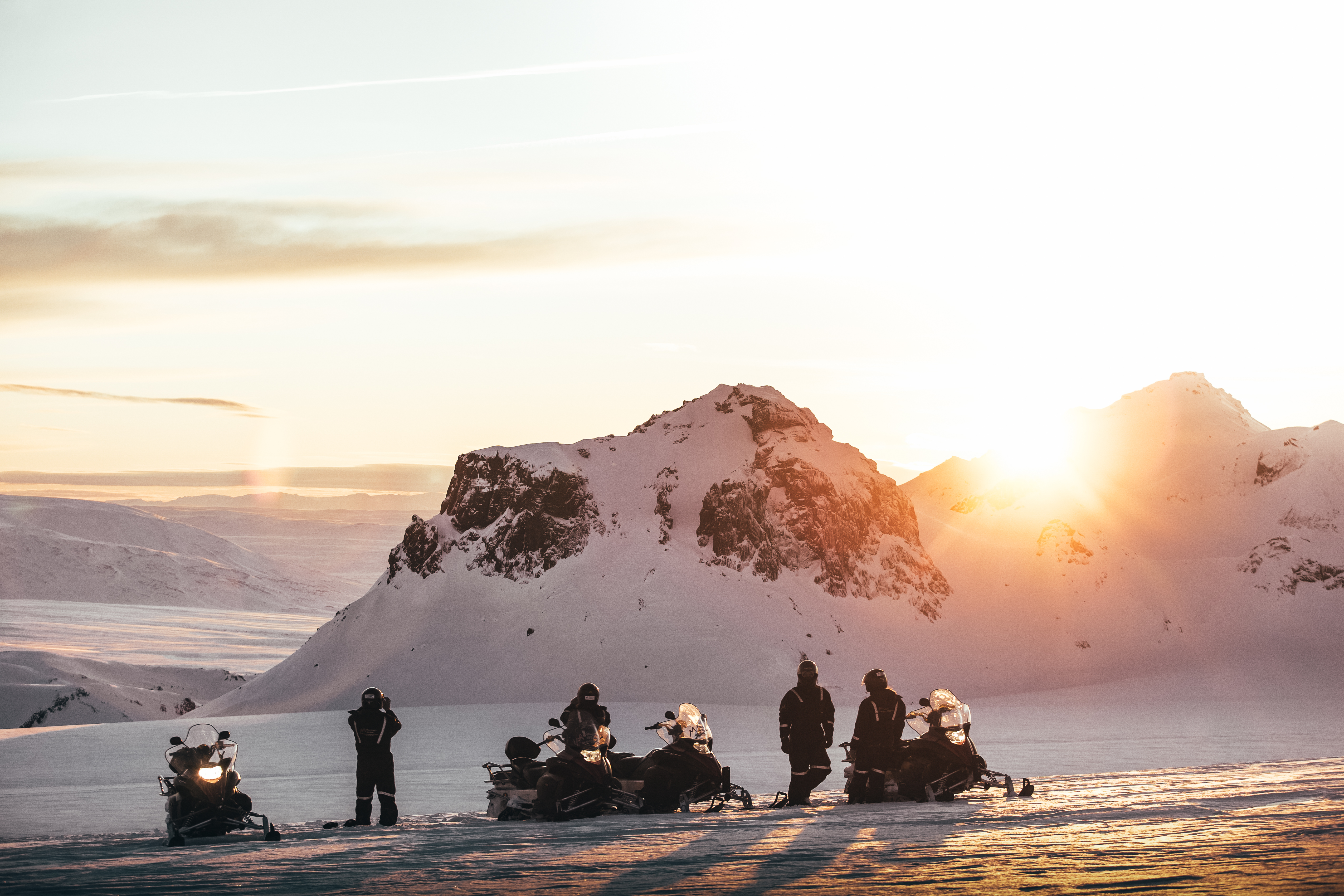 Race across a glacier as the Midnight Sun shines above on this snowmobile tour.