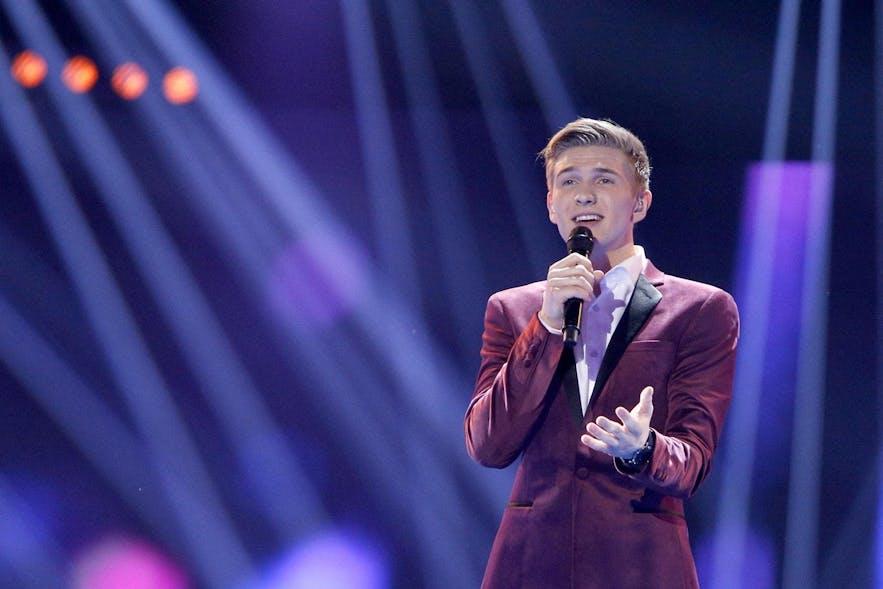 Iceland's Eurovision singer in 2018, Ari Ólafsson singing Our Choice