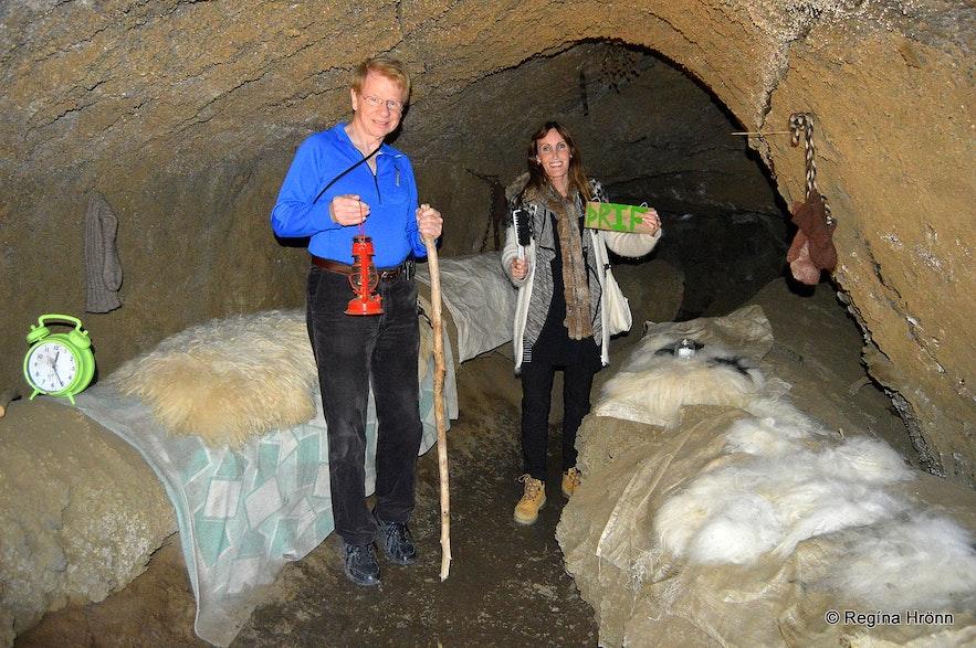 Regína in the Cave of the Yule Lads in Dimmuborgir