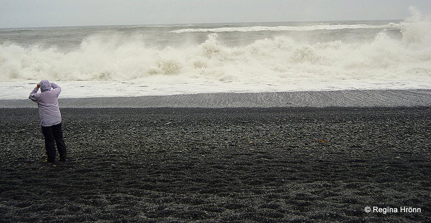 Extremely dangerous Waves by Reynisfjara and Kirkjufjara black Beaches in South-Iceland!