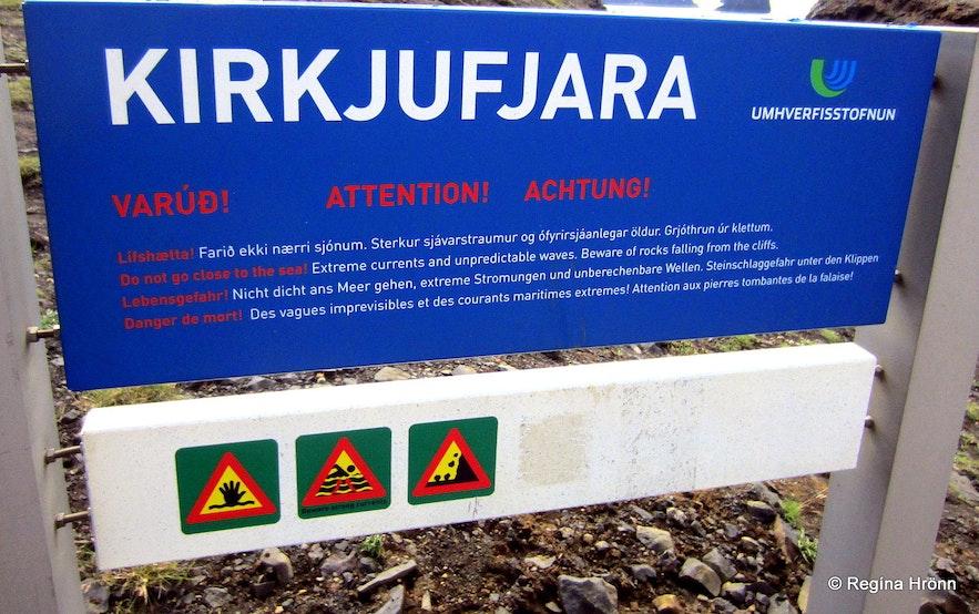 The Kirkjufjara sign with warnings