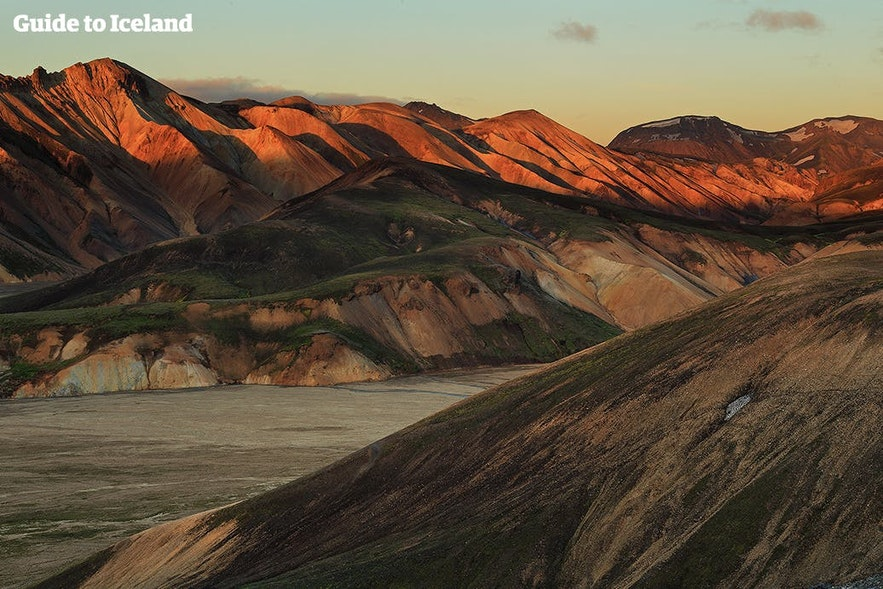 Landmannalaugar appears to change colour with the passing sunlight.