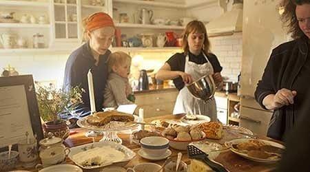 Preparing for teatime in the Wilderness Center Kitchen.