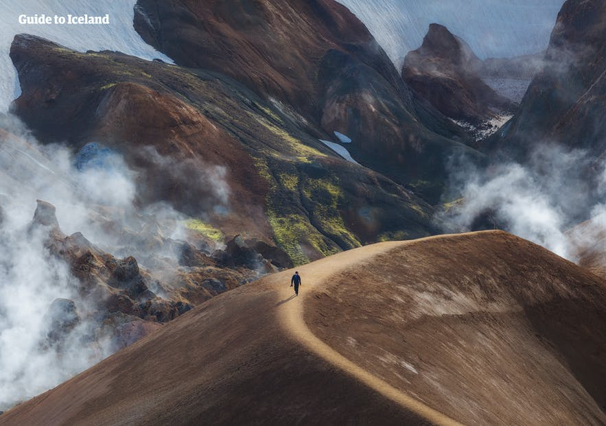 Para unosząca się ponad samotnym wędrowcem zmierzającym w kierunku aktywnych geotermalnie terenów Centralnych Wyżyn.