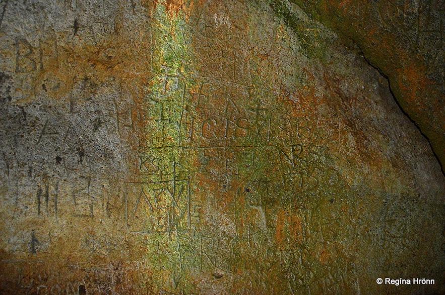 Markings in Sönghellir cave Snæfellsnes