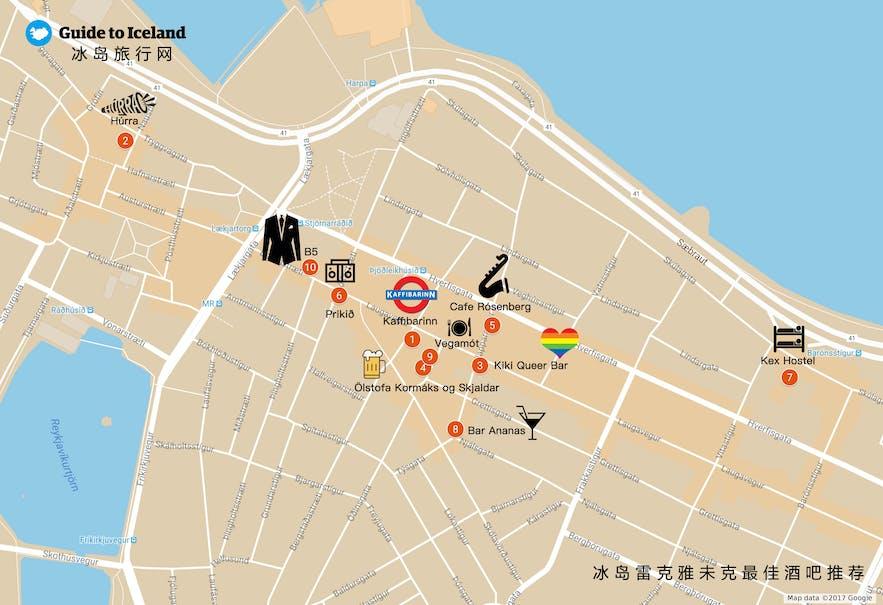 雷克雅未克酒吧地图
