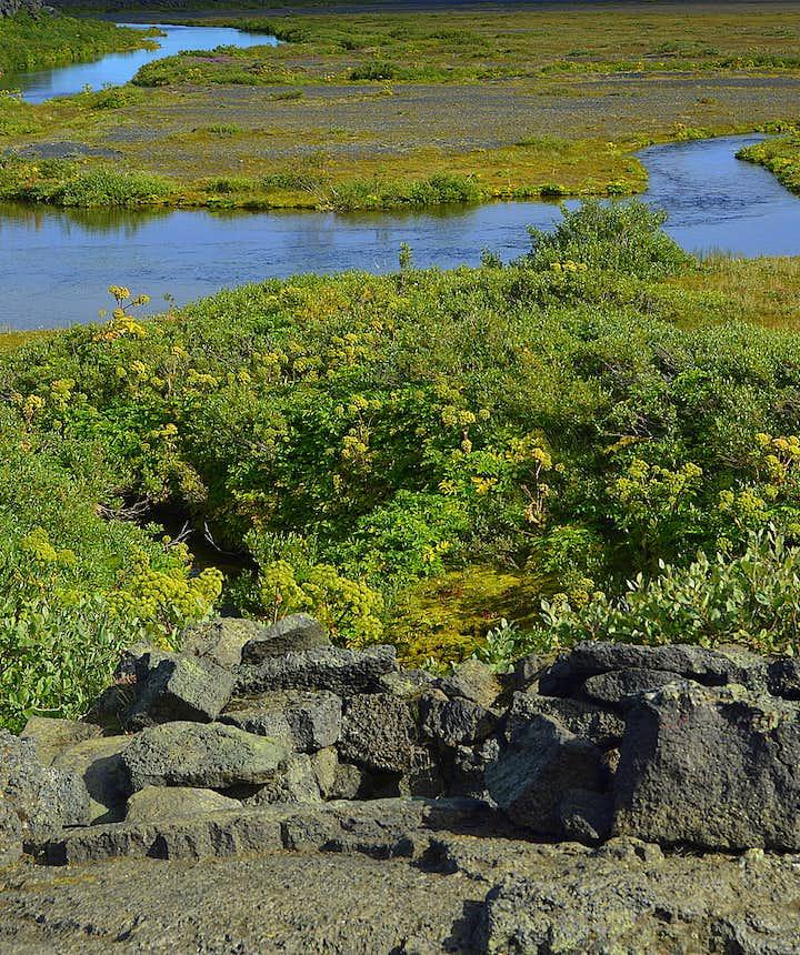 Herðubreiðarlindir oasis and the shelter of Fjalla-Eyvindur