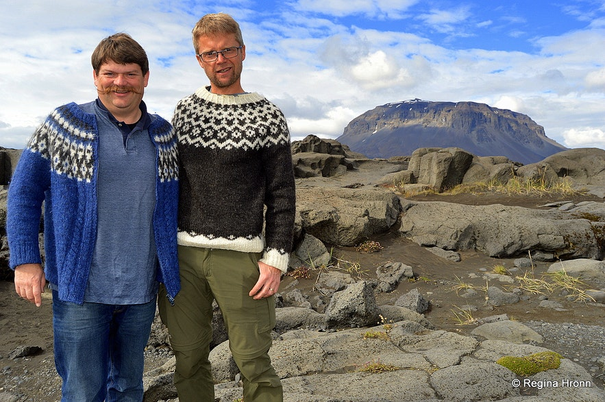 Regína's husband and Erlingur wearing Icelandic sweaters
