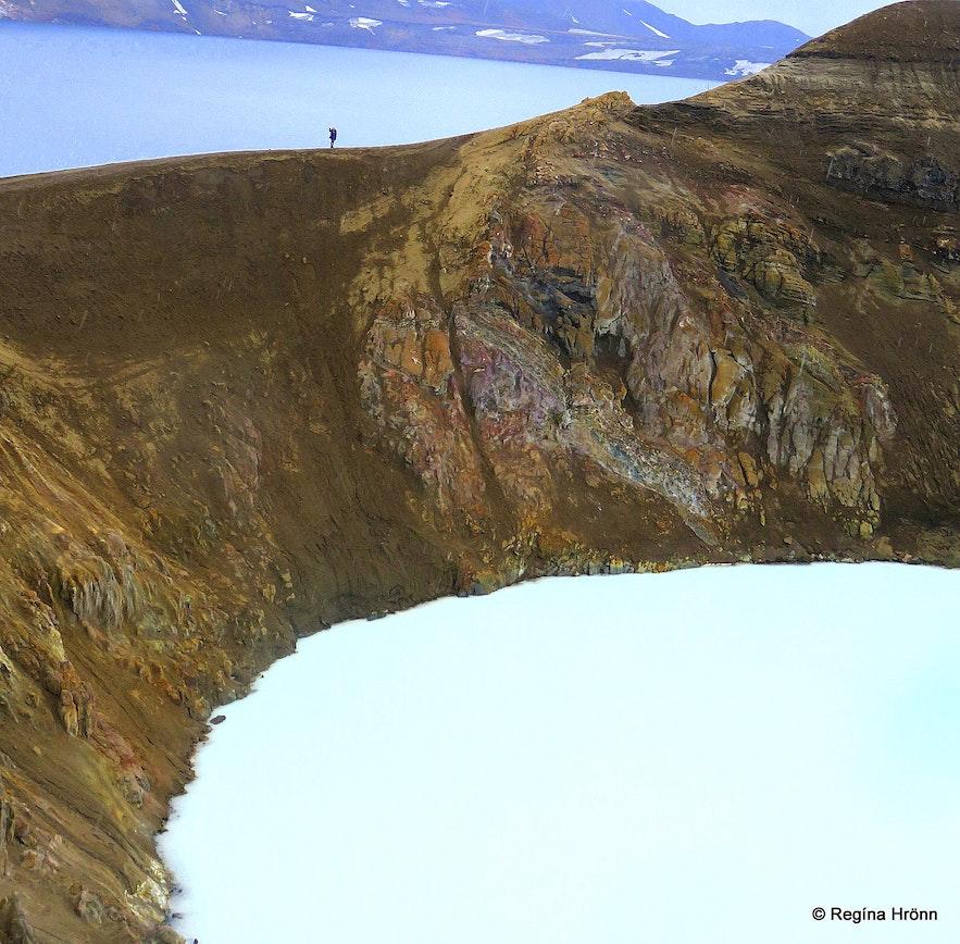 Regína at Víti explosion crater at Askja