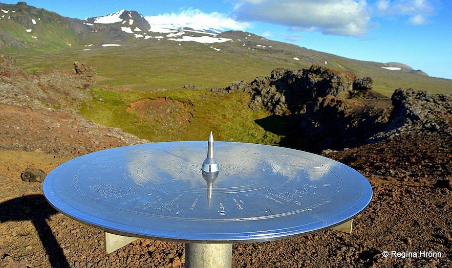The view-dial at Saxhóll crater Snæfellsnes