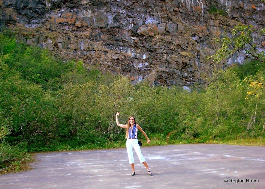 Dance platform in Ãsbyrgi canyon, north Iceland