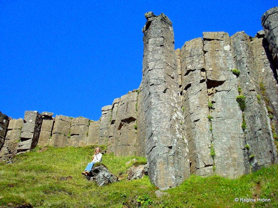 Regína at Gerðuberg basalt columns Snæfellsnes