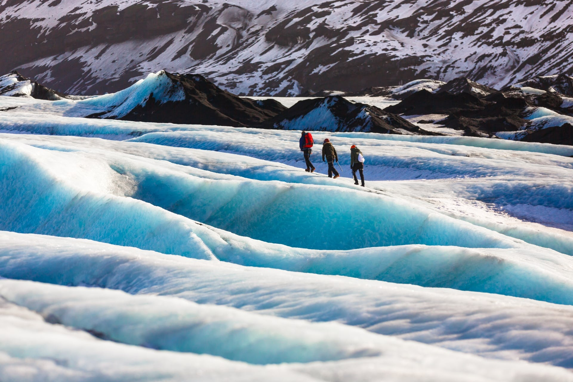 Hike on top of the blue ice of Sólheimajökull glacier on this exciting glacier hiking tour.